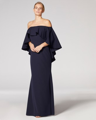 Vince Camuto Off-The-Shoulder Cape-Effect Gown