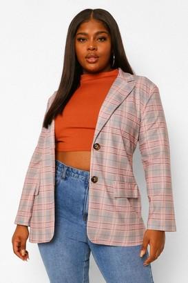 boohoo Plus Check Pocket Front Blazer