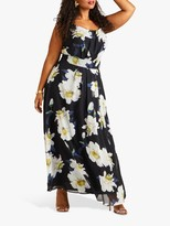 Yumi Curves Floral Maxi Dress, Black/Multi