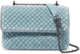 Bottega Veneta Olimpia Baby Watersnake-trimmed Quilted Velvet Shoulder Bag - Blue