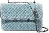 Bottega Veneta Olimpia Baby Watersnake-trimmed Quilted Velvet Shoulder Bag - Blue