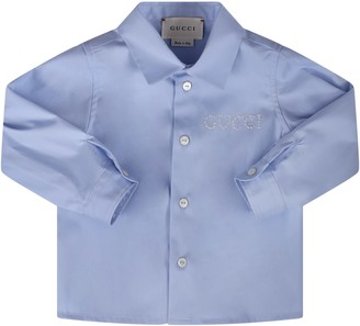 Gucci Light Blue Shirt For Baby Boy