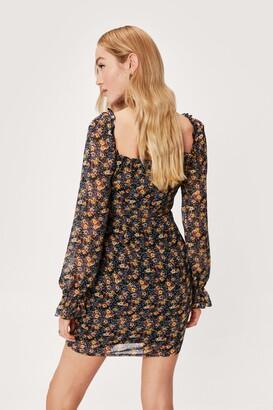 Nasty Gal Womens Floral Long Sleeve Tie Bust Mini Dress - Black - 8