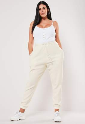Missguided Plus Size Cream Ribbed 90S Joggers