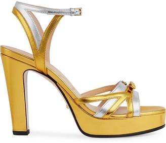 Gucci metallic strappy platform sandals