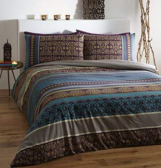 Fusion Printed Duvet with Two Pillowcase, Polyester-Cotton, Multi-Colour, Double