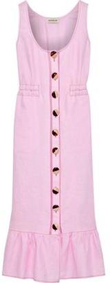 Nicholas Garden Ruffled Linen Midi Dress