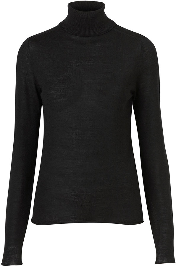 Topshop Knitted Merino Wool Roll Neck Top
