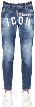 DSQUARED2 15cm Print Icon Skinny Dan Denim Jeans