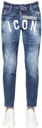 DSQUARED2 15cm Print Icon Skinny Dan Denim Jeans