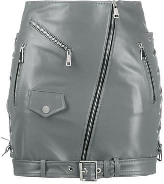 Manokhi Side Lace-Up Detail Biker Skirt