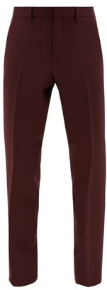 Burberry Mid-rise Wool-blend Trousers - Mens - Burgundy