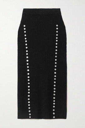Altuzarra Marilla Button-embellished Ribbed-knit Midi Skirt - Black