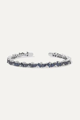 Suzanne Kalan 18-karat White Gold, Sapphire And Diamond Cuff
