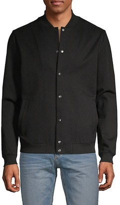 Pure Navy Snap-Front Bomber Jacket