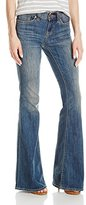 Dittos Women's Christine Mid-Rise Flare Jean In Authentic Light Destruction