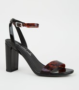 New Look Patent Tortoiseshell Effect Clear Strap Heels