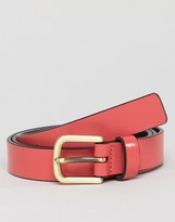 Smith And Canova Skinny Leather Belt in Pink
