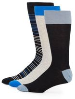 Saks Fifth Avenue Striped Cotton-Blend Socks/3-Pack