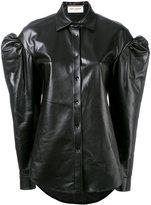 Saint Laurent drop puff sleeve leather shirt - women - Lamb Skin - 36
