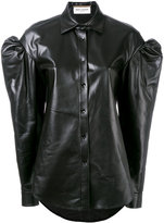 Saint Laurent drop puff sleeve leather shirt