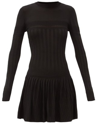 Paco Rabanne Pleated Rib-knitted Mini Dress - Black