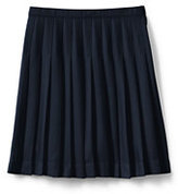 Lands' End Juniors Solid Pleated Skirt Below the Knee-Khaki