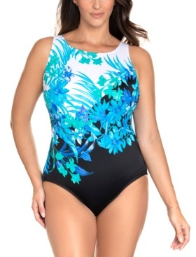 Swim Solutions Longitude Scenic Route Printed Long Torso Tummy Control One-Piece Swimsuit, Created for Macy's Women's Swimsuit