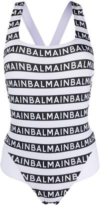 Balmain Logo-Print One-Piece Swimsuit