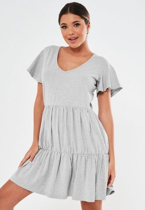 Missguided Tall Gray V Neck Tiered Mini Smock Dress