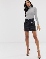 Asos Design DESIGN leather look mini skirt with pockets zips and poppers
