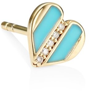 Sydney Evan 14K Yellow Gold, Diamond & Turquoise Enamel Heart Single Stud Earring