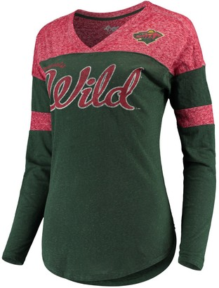 G Iii Women's G-III 4Her by Carl Banks Green/Red Minnesota Wild Tri-Blend Redzone Long Sleeve V-Neck T-Shirt