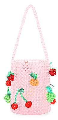 Susan Alexandra Women's Fruit Salad Appliqué Beaded Bucket Bag