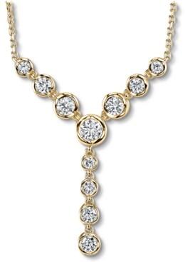 "Macy's Diamond Bezel Adjustable 16-22"" Lariat Necklace (1/2 ct. t.w.) in 14k Gold"