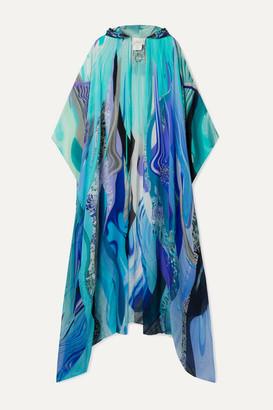 Camilla Embellished Printed Silk-chiffon Kaftan - Blue
