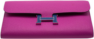 Hermes Rose Pourpre Epsom Leather Constance Long Wallet