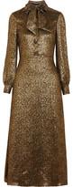 Saint Laurent Silk-blend Lamé Midi Dress - Gold