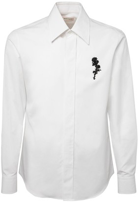 Alexander McQueen Floral Embroidery Cotton Poplin Shirt