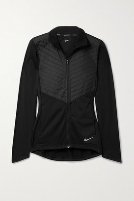 Nike Quilted Shell And Stretch-jersey Jacket - Black