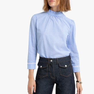 La Redoute Collections Striped Cotton Blouse with Ruffled High Neck and Long Sleeves