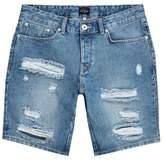 River Island Mid Blue Ripped Slim Fit Denim Shorts