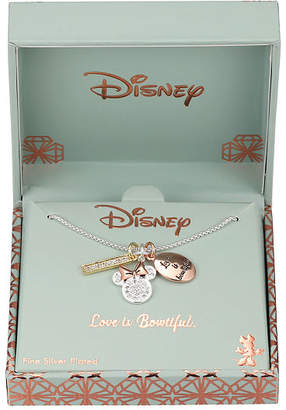 Disney Collection Crystal Pure Silver Over Brass 18 Inch Box Minnie Mouse Pendant Necklace
