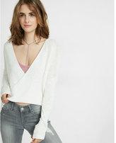 Express deep v-neck surplice popover sweater
