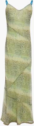 Acne Studios Bead-embellished Snake-print Silk-chiffon Maxi Slip Dress