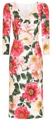 Dolce & Gabbana Camellia Print Pencil Dress