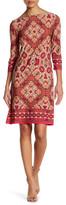 London Times Burmese Tile 3/4 Length Sleeve Shift Dress (Petite)