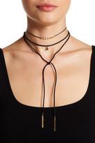 Stephan & Co Suede Studded Bow Drop Choker