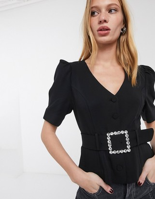 And other stories & diamante buckle short sleeve blouse in black