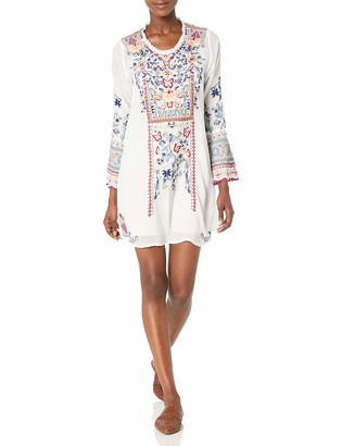 Johnny Was Women's Long Dress with Bell Sleeve and Contrast Embroidery